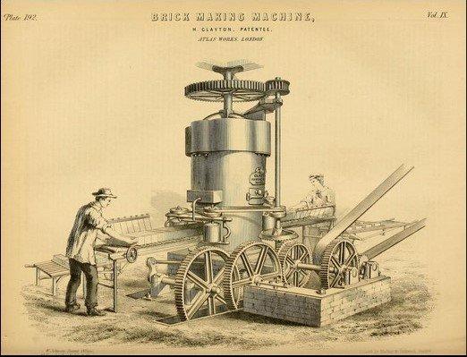 Máquina para producir ladrillos y otros materiales para la casa victoriana