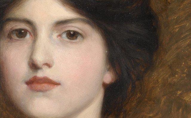"Sir Frank Dicksee ""Portrait of Camille Sutton Palmer' (detalle) 1913"