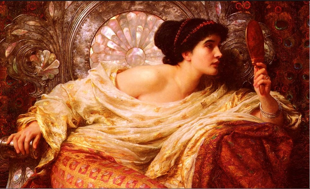 The Mirror 1896, Sir Frank Dicksee. Colección privada (Art Renewal Center Museum, image 6940) - https://commons.wikimedia.org/wiki/File:Dicksee-The_Mirror-1896.jpg