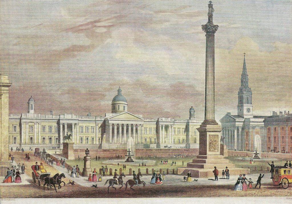 Imagen de Trafalgar Square de hacia 1850, con la National Gallery al fondo.