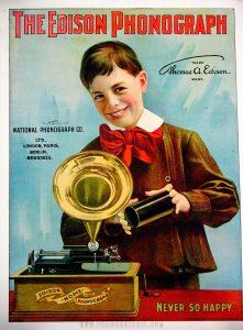 Anuncio del fonógrafo de Edison en la época victoriana